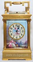 Corinthian-Style Repeater Carriage Clock with Hand-Painted Porcelain Panels, c.1890 ~ Antique Clocks Guy