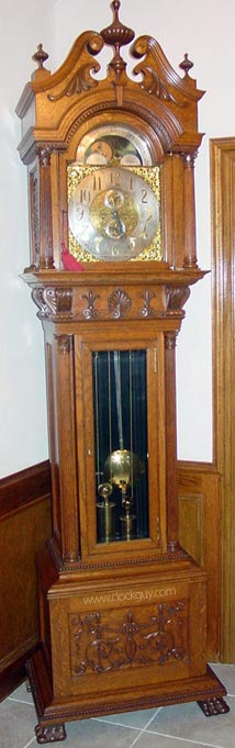 Korfhage Tallcase in Oak, with Calendar Subsidiary Dial ~ Antique Clocks Guy