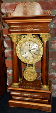 Rare 21-Day French Empire Clock in Rosewood Silvered Dial with Seconds Bit ~ Antique Clocks Guy
