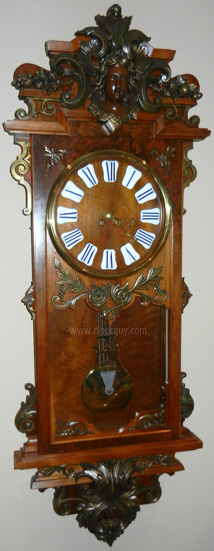 Ornate French Wall Clock with Gilded Iron Mounts ~ Antitque Clocks Guy