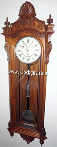 Seth Thomas Regulator No. 16 in walnut, c.1880 - Antique Clocks Guy