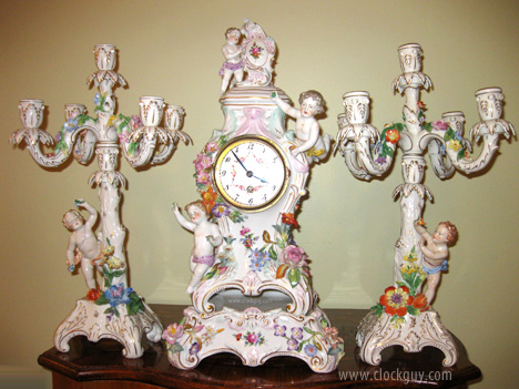Dresden/Lenzkirch Garniture Set ~ Antique Clocks Guy